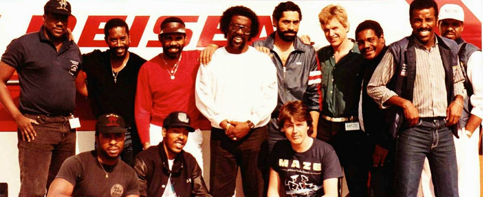 Andy (far left) with Frankie Beverly & Maze on tour in 1985. © Grahame Joyce (4th from right). Used by kind permission.