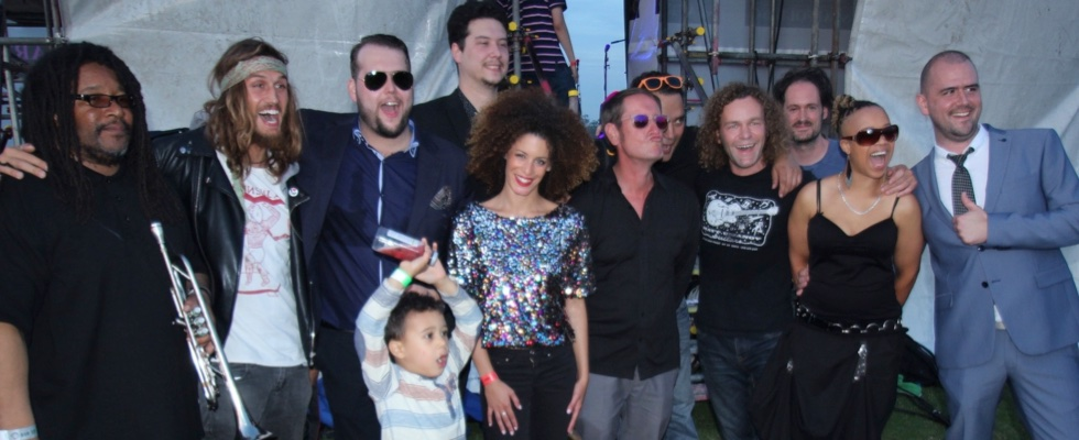 Bah Samba and The Illumination Experience just before taking the main stage at Summer Soulstice 2015. Photo by Martyn Brooks © Summer Soulstice Ltd.