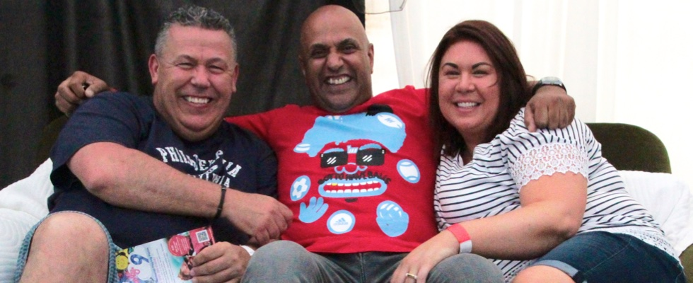 Steve and Louise from SouLutions relaxing backstage with DJ Ash Selector at Summer Soulstice 2015. Photo by Jenny B © Summer Soulstice Ltd.