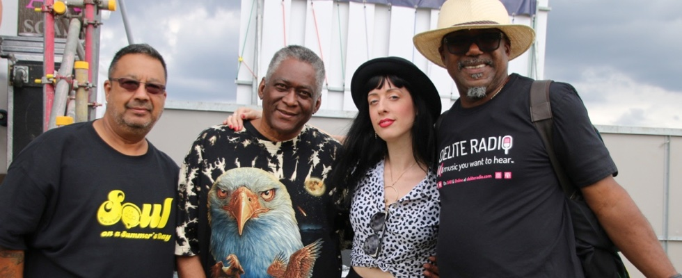 Aisling Iris backstage at SS2017 with (from left to right) James Anthony, Greg Edwards and Orphy Robinson. Photo by Jen Jenny B © Summer Soulstice Ltd.