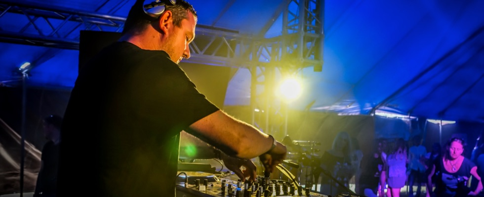 Mark in the Club Tent on his DJ debut at Summer Soulstice in 2017. Photo by Paul Hodson © Summer Soulstice Ltd.