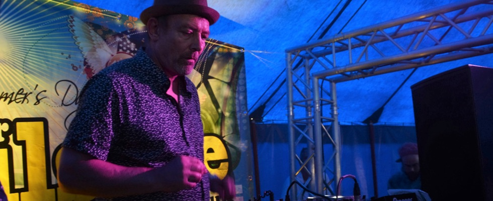 Tim playing the Club Tent at Summer Soulstice 2016. Photo by Paul Welch © Summer Soulstice Ltd.