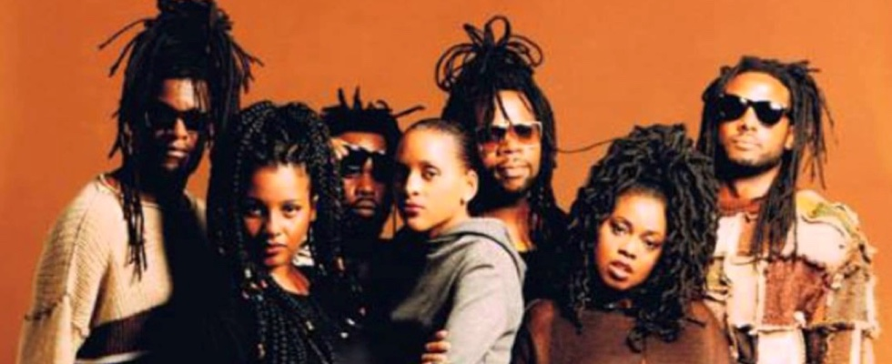 The original Soul II Soul band line-up back in 1988, with Aitch B far left.
