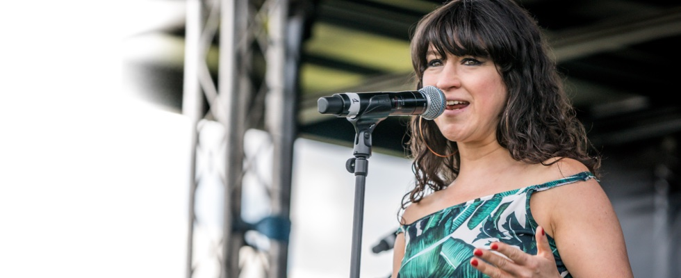 Louise Golbey on the main stage at Summer Soulstice 2019. Photo by Paul Hodson ©Summer Soulstice Ltd.